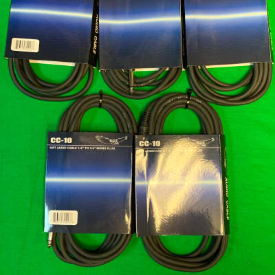 """New Sky CC-10 10 FT 5-Pack Audio Cables 1/4"""" To 1/4"""" Mono Plugs"""