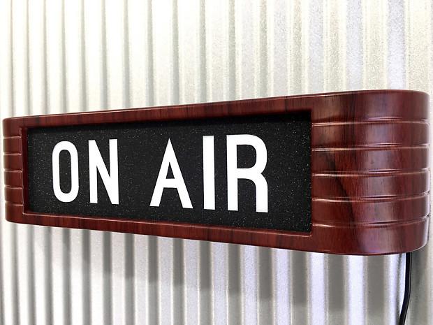 on air studio warning sign light up rca style mahogany wood reverb