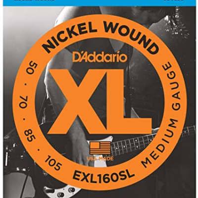 D'Addario EXL160SL Nickel Wound Super Long Scale Bass Guitar Strings, Medium Gauge