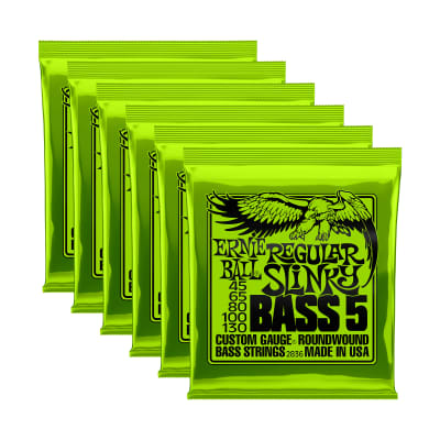 Ernie Ball 2836 Regular Slinky Bass 5-String 45-130 6 Pack Bundle