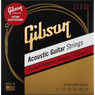 Gibson 11-52 Ultra Light Coated Phosphor Bronze Acoustic Guitar Strings for sale