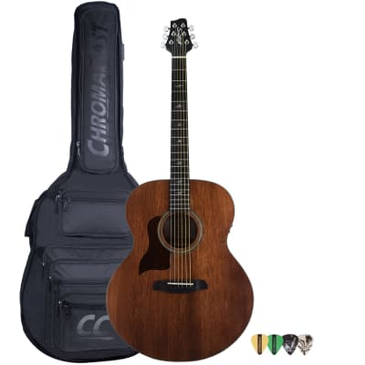 Sawtooth Mahogany Series Left-Handed Solid Mahogany Top Acoustic-Electric Jumbo Guitar with Padded Gig Bag and Pick Sampler