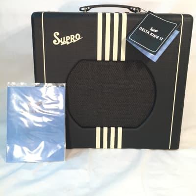 Supro Delta King 12-15W Tube Amp for Guitar-1822R-Classic Sound-Classic Black Fabric/Cream Stripes