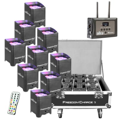 Chauvet DJ Freedom Par Quad-4 RGBA LED Lights (9 Pack) with Charge 9 Case and FlareCON Air Transmit