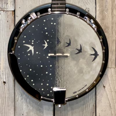 New Luna  Moonbird 5 String Acoustic/Electric Banjo  Satin Black, Support Small Business & Buy Here for sale