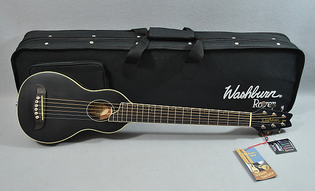 Washburn Ro10b Ebony Travel Guitar W Case Professionally
