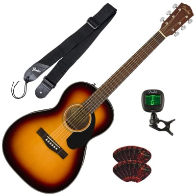 Fender CP-60S Acoustic Guitar - Walnut, Sunburst GUITAR ESSENTIALS BUNDLE