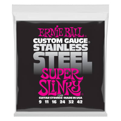 Ernie Ball Super Slinky Stainless Steel Wound Electric Guitar Strings - 9-42 Gauge