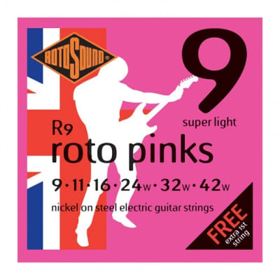 Rotosound Roto Pink Electric Guitar Strings 9-42 Super Light for sale