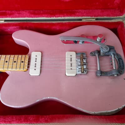 Used Harrison Model 7 Telecaster Electric Guitar w/ Tweed Hardshell Case! Pink Heavy Relic Finish, Bigsby! for sale