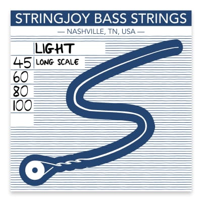 Stringjoy Light Gauge (45-100) 4 String Long Scale Nickel Wound Bass Guitar Strings