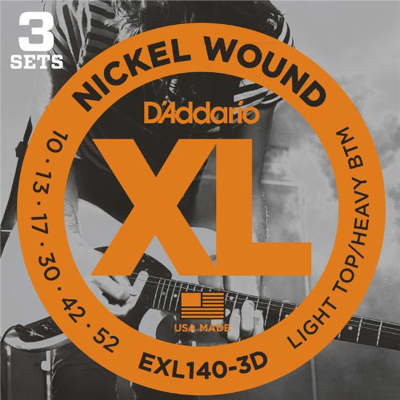 D'Addario EXL140-3D Nickel Wound Electric, Light Top/Heavy Bottom, 10-52, 3 Pack for sale