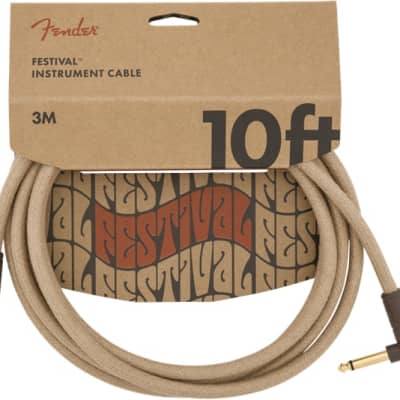 Fender 10' Angled Festival Instrument Cable, Pure Hemp, Natural