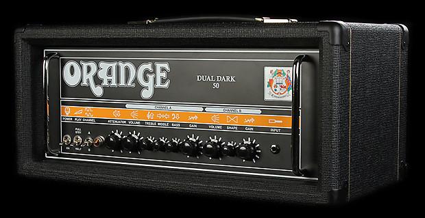 orange dual dark 50 dd50h black 50w tube amplifiier head reverb. Black Bedroom Furniture Sets. Home Design Ideas