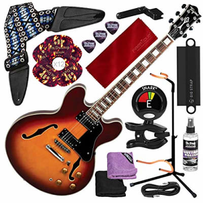 Tagima Jazz N Blues Series Blues3000 Hollow-Body Guitar, Sunburst with Guitar Stand, Tuner, Picks, and Deluxe Accessory Kit for sale