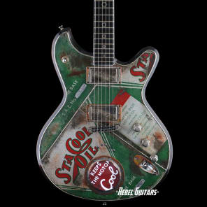 Preowned 2015 McSwain Guitars SM-2 StaCool Oil Can Theme in Green with Lighted Gauge for sale