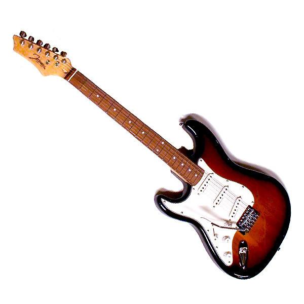 johnson stratocaster style electric guitar sunburst emg reverb. Black Bedroom Furniture Sets. Home Design Ideas