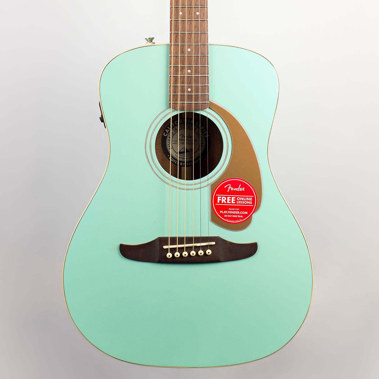 Fender Malibu Player Acousticelectric Guitar In Aqua Splash
