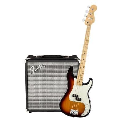 Fender Player Precision Bass 3 Tone Sunburst Maple & Fender Rumble 25 Bundle for sale
