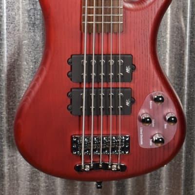 Warwick Rockbass Corvette $$ Double Buck Burgundy 5 String Bass & Bag #0218