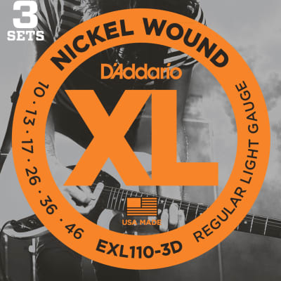 D'Addario Electric Guitar Strings Nickel Wound, 3-Pack, Regular Light Gauge 10-46