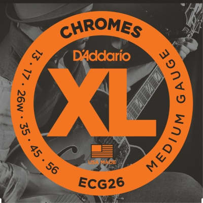 D'Addario ECG26 XL Chromes Flatwound Electric Guitar Strings, Medium Gauge Standard