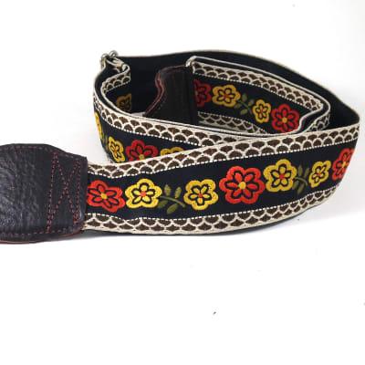 Souldier Guitar Strap (soldier) - Marigold Flowers - Handmade - Fabric image