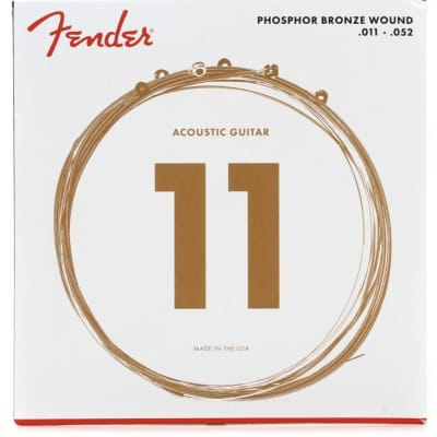 Fender Phosphor Bronze Acoustic Guitar Strings, Ball End, 60CL .011-.052 Gauges, (6)