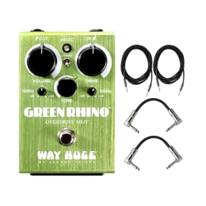 Dunlop WHE207 Way Huge Green Rhino MKIV Mini Effects Pedal With Patch Cables and Instrument cable