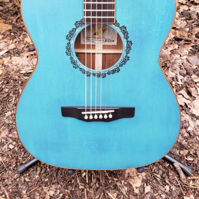 Morris FLB-80 Turquoise Blue Japanese Hand Made Acoustic Electric Guitar 2019 Winter NAMM Showpiece