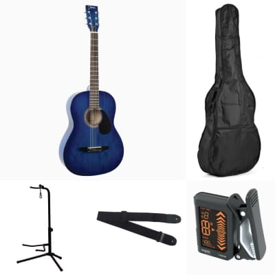 Johnson JG-100 Blue Acoustic Dreadnought Guitar Pack w/ bag, stand, tuner, & strap for sale