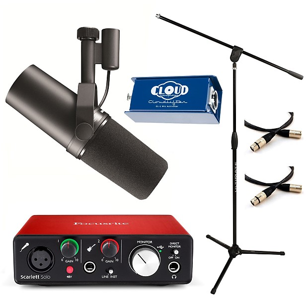 Shure SM7B Studio/Podcast Bundle with Cloudlifter CL-1, Focusrite Solo 2nd  Gen, MC40B-PRO Mic Stand