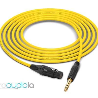 "Mogami 2534 Quad Cable | XLR-Female to Neutrik Gold 1/4"" TRS | Yellow 1 Feet | 1 Ft. | 1'"