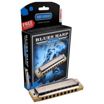 Hohner 532 Blues Harp MS Diatonic Harmonica Silver - G