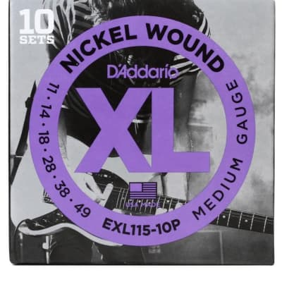 D'Addario EXL115-10P Nickel Wound Electric Guitar Strings, Medium / Blues-Jazz Rock Gauge 10-Pack