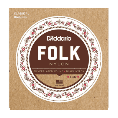 D'Addario EJ32 Folk Nylon Strings Silver Wound/Ball End Black Trebles