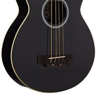 Oscar Schmidt OB100B Acoustic Electric Black Hollow Body Bass with Gig Bag for sale