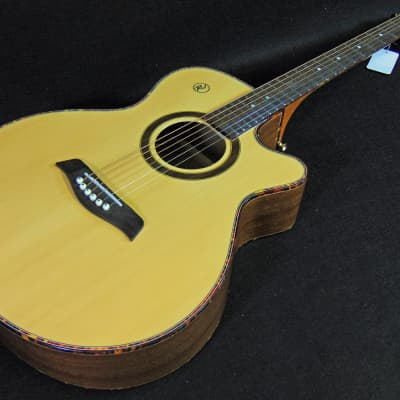 RJ Cheetah Acoustic-Electric Guitar Natural Finish Crafted in Philippines ! Professionally Set Up! for sale