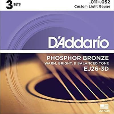 D'addario EJ26-3D 3 Pack Phosphor Bronze, Custom Light, 11-52 for sale