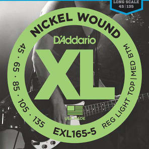D'Addario EXL165-5 Nickel Wound Long Scale Bass Guitar Strings, Custom Light Top / Medium Bottom Gauge