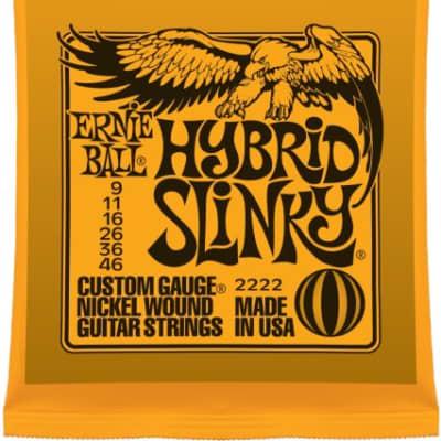 Erine Ball 2222 Hybrid Slinky Electric Guitar Strings, .009 - .046