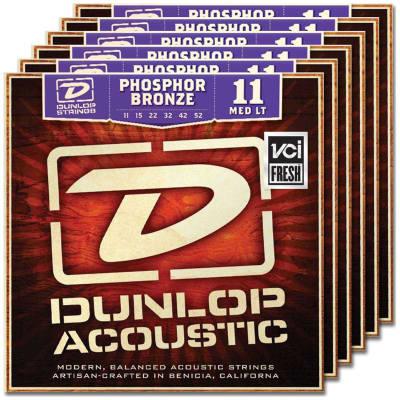 6 Sets Dunlop DAP1152 Phosphor Bronze Medium Light Acoustic Guitar Strings 11-52