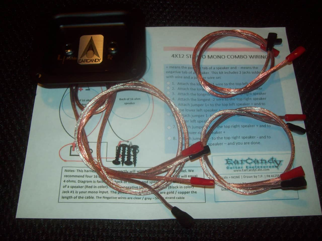 Earcandy 4x10 4x12 Stereo Mono Combo Guitar Or Bass Speaker Reverb Jack Wiring