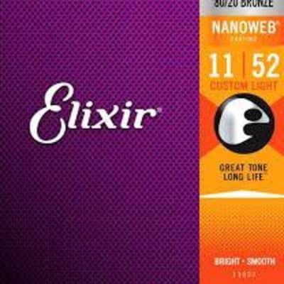 Elixir Acoustic guitar strings, 80/20 Bronze, Custom Light, .011-.052