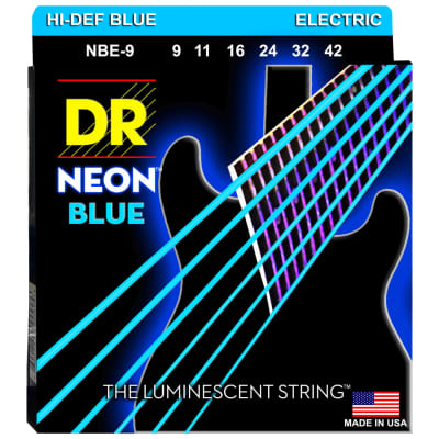 DR Strings NBE-9 NEON Blue Coated Electric Light 9-42