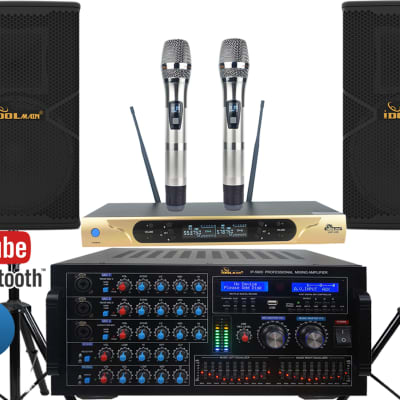 IDOLmain Premium 6000W Karaoke System W/Optical Input,  Dual Loudspeakers And Wireless Microphones