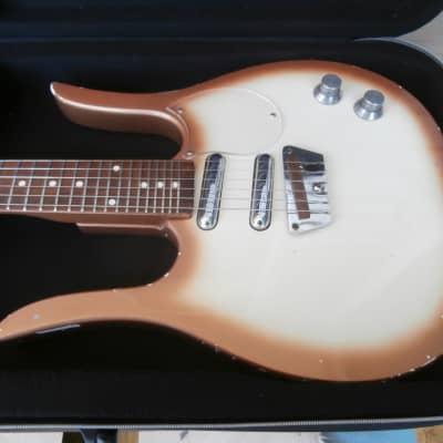 Vintage 1960's Meazzi Dynelectron Longhorn Guitarlin Electric Guitar w/ Case! Rare Danelectro Copy! for sale