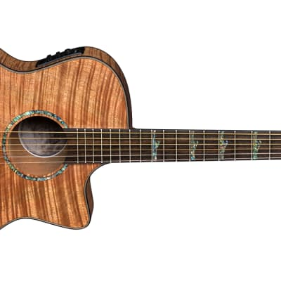 New High Tide Exotic Mahogany Grand Concert Cutaway A/E Support Small Business  Gig Bag Included ! for sale