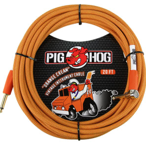 """Pig Hog PCH20CCR Vintage Series 1/4"""" TS Straight to Right-Angle Instrument/Guitar Cable - 20'"""