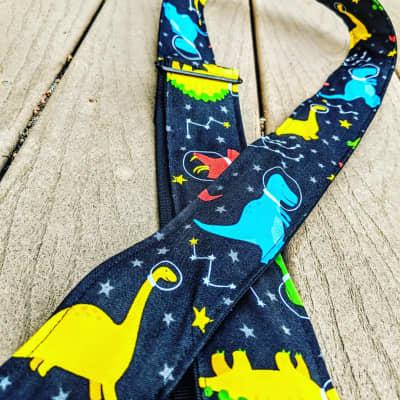 Rockit Music Gear Space Dinos Red, Yellow, Green, Blue Handmade Guitar Strap 2020 Purple